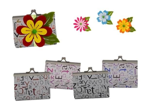 Monedero de piel letras + flor fieltro