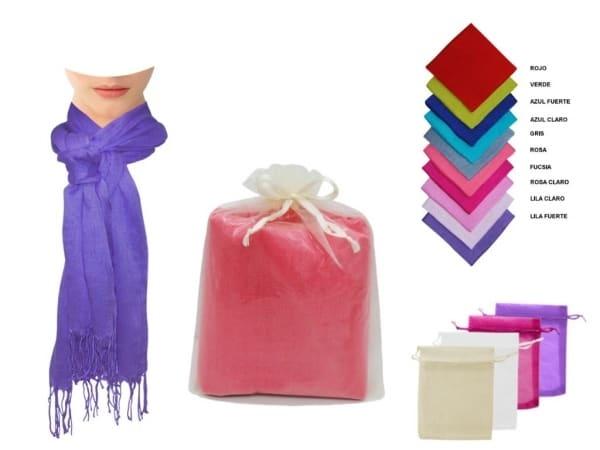 Pashmina de lino lisa con flecos + bolsa de tul