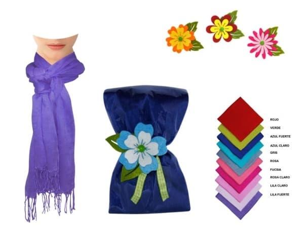 Pashmina de lino lisa con fleco+ flor de fieltro