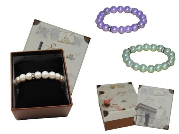 Pulsera perlas + caja con almohadilla