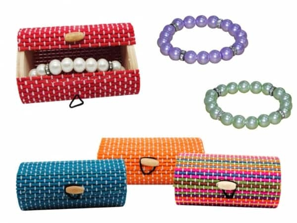Pulsera perlas + caja madera