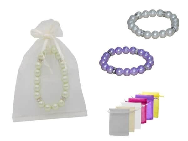 Pulsera perlas + bolsa tul