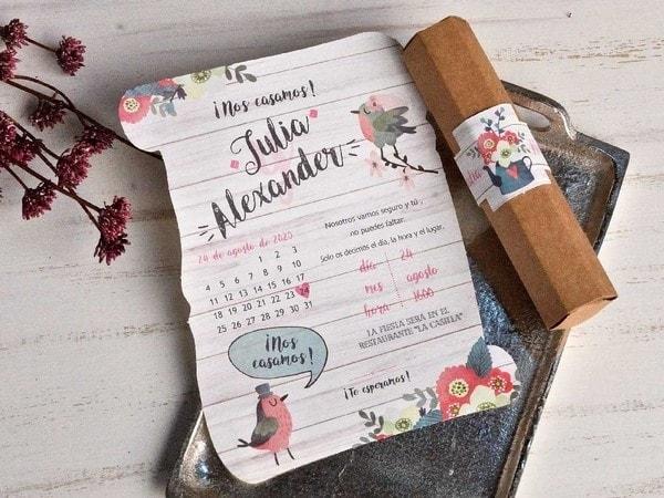 Invitacion de boda pergamino