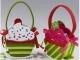 Detalle de boda cesta fieltro cupcake