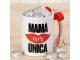 Taza cerámica Mamá Única en caja regalo + 6 bombones